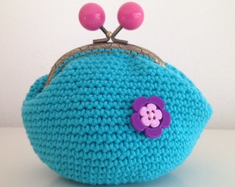 Crochet Turquoise purse with lila flower