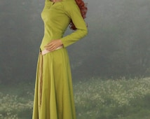 Medieval Dress, SCA LARP Fantasy Historical, Women's Lace-up Cotehardie, Handmade Celtic Dress, Made to Order Your Size Color Options