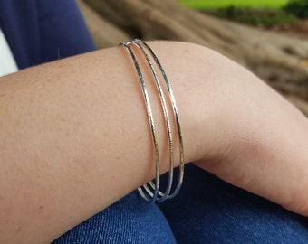 Hammered Bangle Bracelet Stack - Simple Stacking Set - Silver Bangles - Eco-friendly Silver Jewellery - Minimalist - Skinny Bangle Bracelets