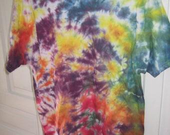 Rainbow splatter tie dye t shirt~Men's L