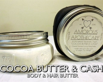 Cocoa Butter & Cash | Organic Whipped 7 oz. Coco Chanel-Scented Cocoa/Shea Butter Moisturizing Hair/Body Cream Butter with Beeswax