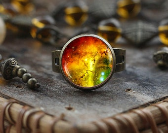 Golden Nebula ring, Space ring, Galaxy Jewelry, Nebula ring, antique brass ring, yellow nebula ring,
