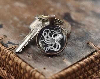 Vintage Octopus Keychain, Octopus Keychain, Octopus jewelry, Sea life Keychain, Nautical Keychain, Vintage graphic Keychain, men's Keychain