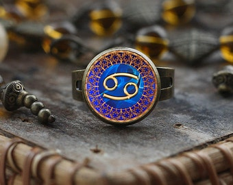 Cancer Zodiac ring, Cancer ring, Cancer Zodiac Jewelry, Cancer constellation ring, Zodiac Sign ring, Astrology ring