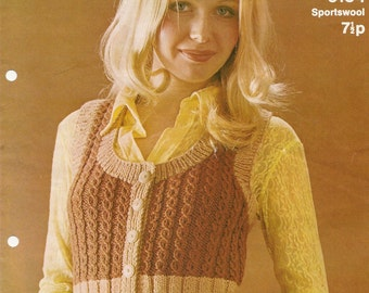 Vintage Knitting Pattern Ribbed Waistcoat Sportswool 1970's Retro PDF Instant Download