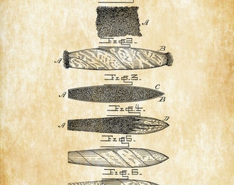 Cigar Patent - Tobacco Patent, Cigar Lounge Sign, Cuban Cigar, Cigar Art, Cigar Decor, Man Cave