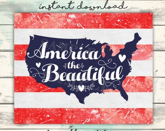 America the Beautiful, Patriotic Flag Printable, American Flag Sign, Stars & Stripes, Classroom Decor, Classroom Printable Art for Teachers