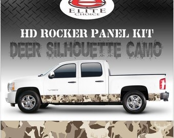"""Deer Hunting Silhouette Camo Rocker Panel Graphic Decal Wrap Truck SUV - 12"""" x 24FT"""