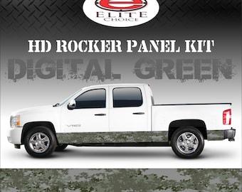 "Digital Green Camo Rocker Panel Graphic Decal Wrap Truck SUV - 12"" x 24FT"
