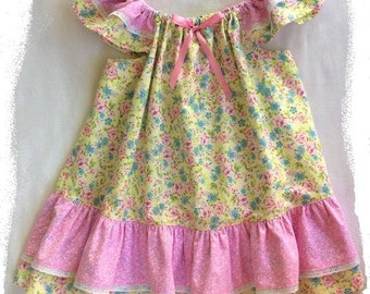 Easter Dress, Little Girls Dress, Size 3, Baby Girl Dress, Girls Dress, Flutter Sleeve Dress, Flowered Dress