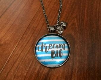 Dream Big Stripe Pendant Necklace, Glass Dome Photo Pendant, Gunmetal Chain, Heart Charm, Jewelry, Gift