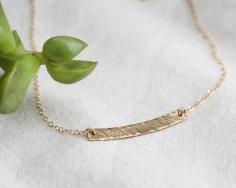 Hammered Gold Bar Necklace - Gold Crescent Moon Necklace - Crescent Necklace - Hammered Layering Necklace - Gift for Her - Bridesmaid Gift