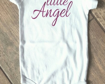 SALE - Reg. 18 dollars - Little Angel - baby girl bodysuit - baby accessories - size 9 months