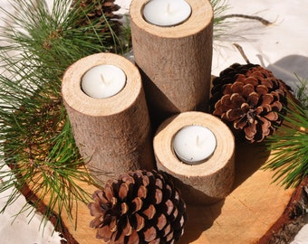 Three pine candle holders, wedding candle, rustic tree branch candle holder for natural wedding theme