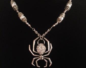 Spider Necklace-Feminine-Elegant-Sparkly-Silver Theme-Arachnid-Rhinestones