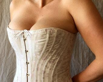 Victorian Plus Size Corset ,Custom Size Boudoir ,Shapely Hourglass,Front Busk Closure,Wedding Bridal, brocade,satin,coutil