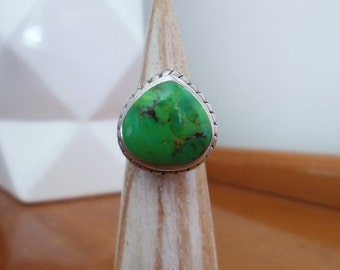 Sterling Silver and Green Turquoise Teardrop Cabochon with Braided Trim Ring