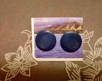 Marbled Sapphire Button Earrings