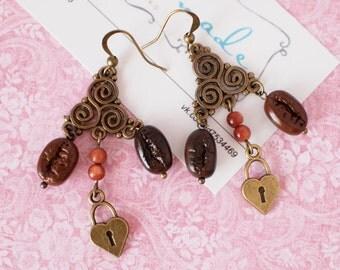 Coffee beans earrings with aventurine beads Coffee lovers
