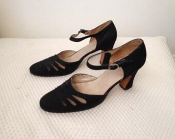 Vintage black pumps with ankle strap