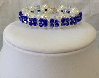 PRICE REDUCED!!! Bracelet - Sapphire Swarovski Crystals and Pearls