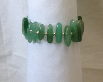 Bracelet - Jade green glass beads