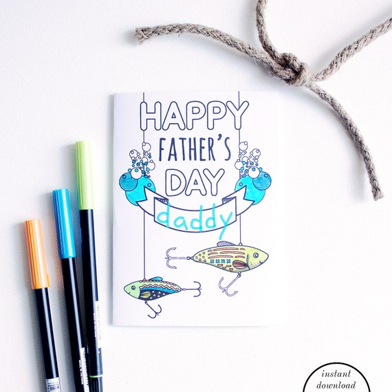 Items similar to printable father card fathers day for Father s day fishing card