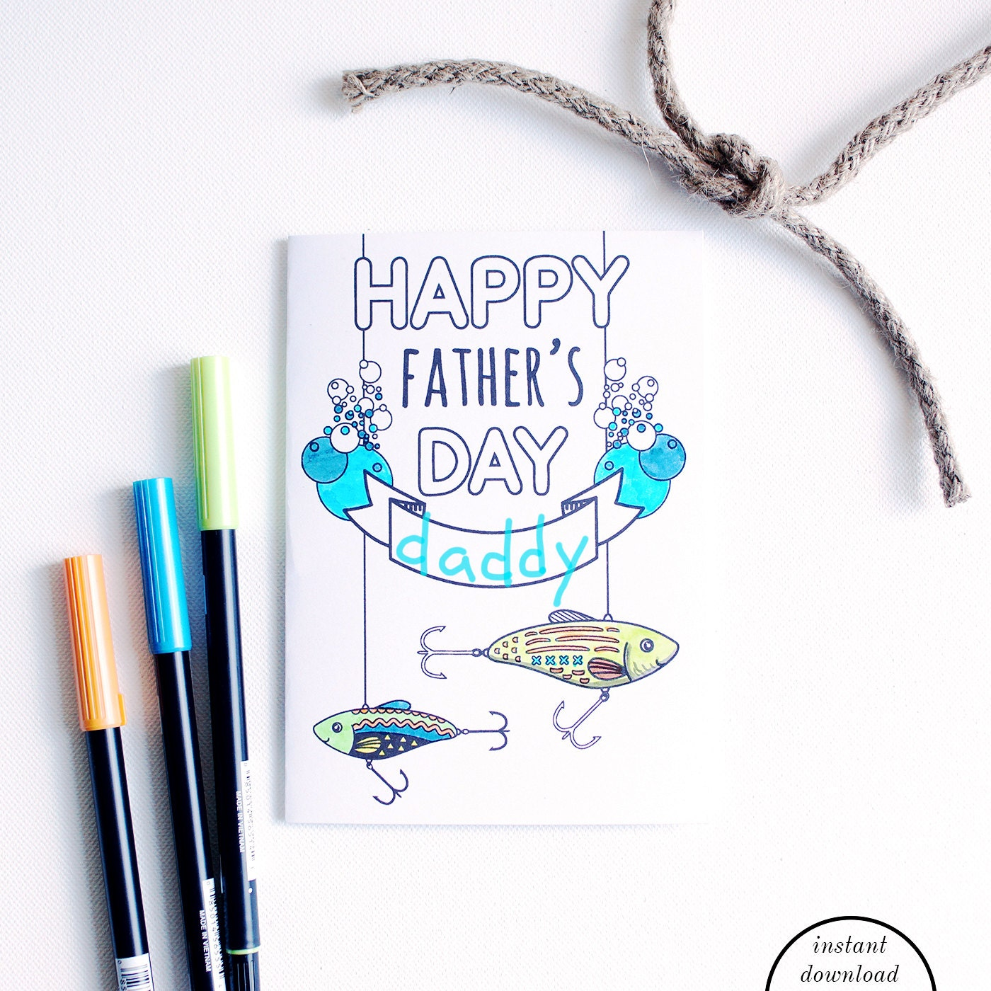 Printable father card fathers day fishing card instant for Father s day fishing card