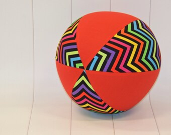 Balloon Ball Cover 30cm Round, chevrons with red panels, Eumundi Kids