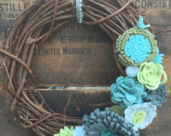Rustic Grapevine Wreath with Felt Flowers - Farmhouse Wreath with Felt Flowers - Twig Wreath with Felt Flowers - Rustic Felt Flower Wreath