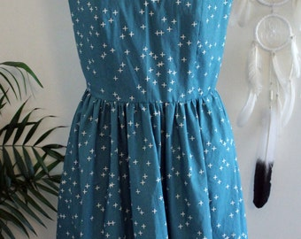 The Daily Dress/ Dress/Organic Cotton/ Cotton/ Print/ Teal/ Wink/ Fit and Flare/ Handmade