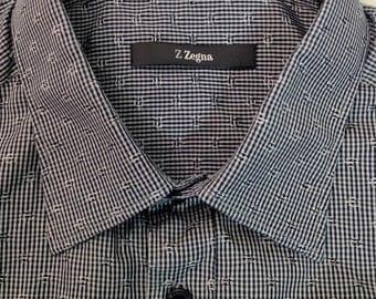 Classic Zegna 1990's Men's Shirt in Shimmering Black White and Grey micro pattern 100% cotton