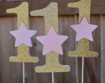 Pink and Gold Star Centerpieces Twinkle Twinkle Little Star Centerpieces Twinkle Twinkle Little Star First Birthday Star Centerpiece Sticks