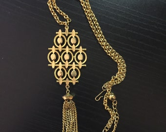 Vintage Gold Link and Tassel Statement Necklace- Costume Jewelry