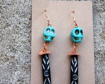 Turquoise Skull - Carved Wood - Copper Earrings