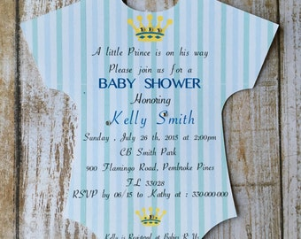 Set of 12 Printed Baby Shower Prince-Onesie Shaped Prince Baby Shower Invitation-Prince crown-Baby Shower Boy-Royal Invitation-Little Prince