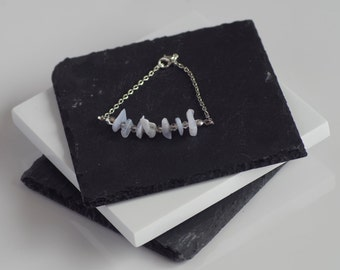Single Strand Blue Lace Agate Bracelet with White Gold Plated Chain. Edgy. Modern. Made to Order.