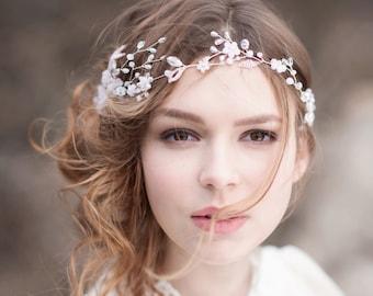 Light Pink Headpiece Bridal Hair Vine Bridal Hair Pin Wedding Headpiece Bridal Hair Piece Bridal Wreath Rose Headpiece Pink Wedding Wreath