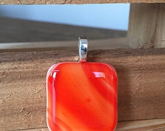 Fire Orange Fused Glass Pendant