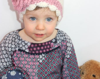 Toddlers' Crocheted Cloche Hat with Pink Flower