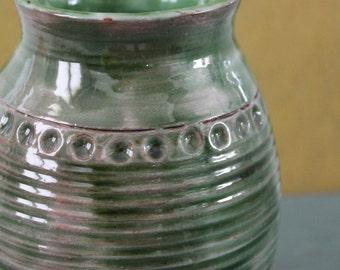 Art - signed Edgi or Eogi - ceramic Vase green ceramic - green décor - Made in France.