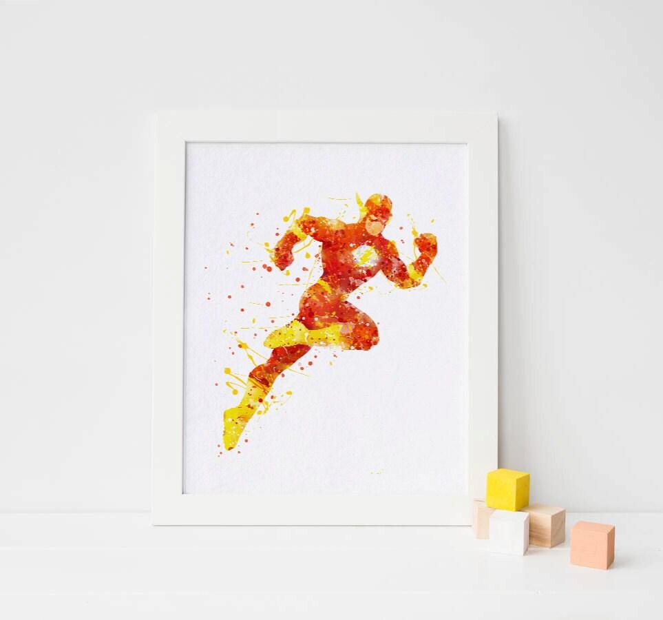 The Flash Poster Flash Print Flash Watercolor Flash Superhero