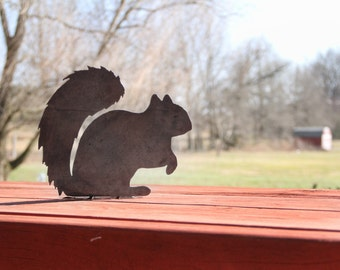 Decorative Metal Squirrel Statue  |  rustic outdoor garden yard patio decor