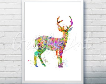 Antler Stag Deer Watercolor Art Print  - Watercolor Painting - Animal Watercolor Art Painting - Antler Stag Deer Poster - Wall Decor [3]