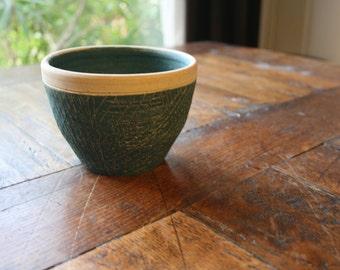Bowl stoneware shot, engobed, unique piece