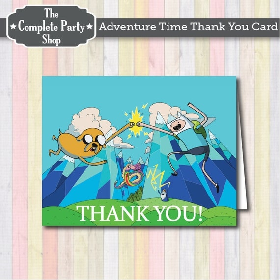 Thank You Cards Adventure Time By Thecompletepartyshop On Etsy