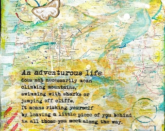 "Mixed Media Collage 8x10 Print ""Adventurous Life"" Home Decor Gift"