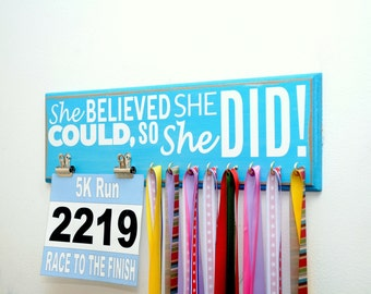 Running Medal Holder and Race Bib Display, Choose your color, Marathon Medal Display, Running Medal Rack, Race Bib She Believed She Could
