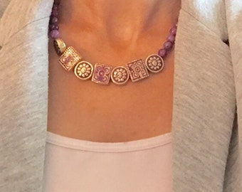 Purple bead necklace, quartz bead necklace, wooden bead necklace