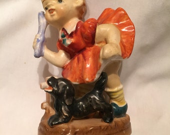 FREE SHIPPING Girl  playing fetch with dog vintage collectible figurine